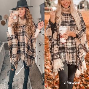 Poncho plaids knit oversized sweater